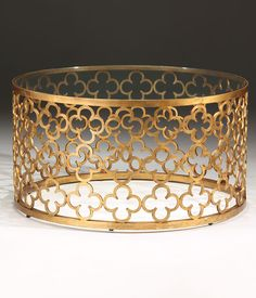 Round Hand Wrought Iron Coffee Table With Distressed Antiqued Gold Leaf Finish And Glass