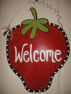 Items similar to Large Strawberry Door Decoration on Etsy Strawberry Cheesecake, Strawberry Recipes, Strawberry Decorations, Strawberry Fields Forever, Kitchen Themes, Strawberries, Hanger, Heaven, Passion