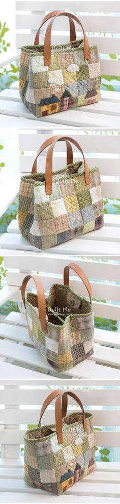 Want to try to make this model. Even without 'houses' the pattern is lovely. #sewing #quilting #bag
