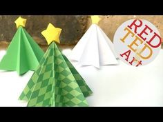 Yes it is time for more Christmas Origami ideas. Now, this origami pattern is probably for intermediate level. I dont think it is too hard, but it is not the easiest origami diy either. Origami Christmas Tree, Christmas Paper Crafts, Paper Crafts For Kids, Diy Christmas Ornaments, Christmas Decorations, Homemade Decorations, Christmas Stuff, Paper Crafting, Christmas Trees