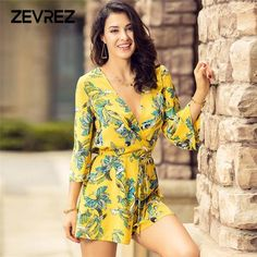 eaef8dac86f6 Casual Women Print Floral Playsuits Yellow Chiffon Elegant Jumpsuit Summer  Beach Playsuit Female Sexy Deep V