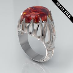 3D STL Persian Eslimi ring with Cabochon 4 ring sizes ready for 3D printing