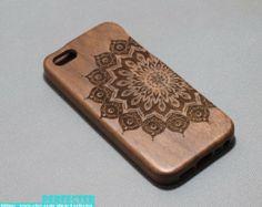 Natural wood iphone 5 case, wood iPhone 4/4s/5/5S case, Cherry/Walnut/Bamboo Wood iphone case,mandala iPhone 5S case, floral iPhone 5 case