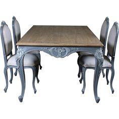 Lyon French Carved Dining Table ($895) ❤ liked on Polyvore featuring home, furniture, tables, dining tables, decor, dining, french dining table, french furniture, french kitchen table and colored furniture