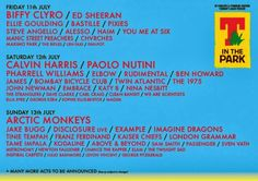 The official #TinThePark 2014 line up! July 11, 2014.