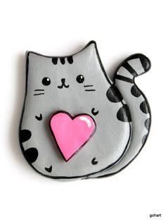 Magnes ręcznie robiony, zimna porcelana, kot pusheen, pusheen the cat, cold porcelain, magnes kot, cat, polimer clay