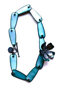 """by """"the Noisy Plume"""" (Jillian Lukiwski ) on Etsy -   """"Big Furious Bloom"""" sterling, copper, enamel  http://www.thenoisyplume.com/"""