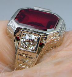 Mens Ring Antique Vintage Deco Estate 1920s 14k White Gold Ruby