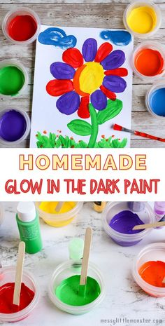 Homemade glow in the dark paint. Easy paint recipe to make DIY glow in the dark paint.