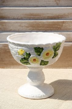 Vintage Yellow Daisy Lefton Compote. $12.00, via Etsy.