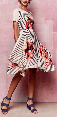 Floral + Stripes Midi Dress