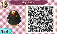 GRYFFINDOR HOGWARTS ROBE. HARRY POTTER. ANIMAL CROSSING NEW LEAF. QR CODE. ACNL. PINNED BY Stephy Sama