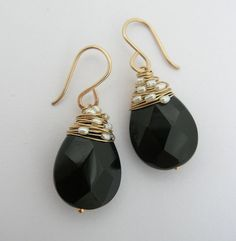 Black Onyx Woven Pearl Earrings by SarahHickeyJewellery on Etsy