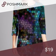 """Caroline Mosaic Tunic An allover print enlivens this curve-skimming tunic with an eye-catching pop of visual intrigue. Stretch-infused material ensures daylong comfort.  31'' long from high point of shoulder to hem 95% polyester / 5% spandex Machine wash Bust 38""""-39""""; Waist 36""""-37""""; Hip 42""""-43"""" Paicar Concepts Tops Tunics"""