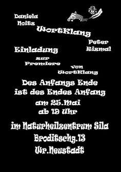 """Premiere """"Des Anfangs Ende und des Endes Anfang"""" 25 Mai, Math Equations, Literature, Music"""