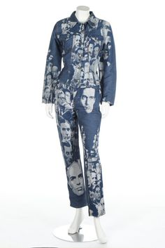 * Ensemble comprising denim trousers with matching jacket woven with faces - Jean Paul Gaultier Jean Paul Gaultier, Jeans, Blue Denim, Duster Coat, Kimono Top, Trousers, Jackets, 1990s, Tops