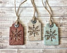 Rustic Farmhouse Snowflake Tags Clay Christmas Ornament Set Vintage Style Winter Holiday Decor Aged Finish Rust Red,Antique White,Mint Green - Hobbies paining body for kids and adult Clay Christmas Decorations, Rustic Christmas Ornaments, Polymer Clay Christmas, Polymer Clay Crafts, Diy Clay, Polymer Clay Ornaments, Holiday Decor, Christmas Crafts, Christmas Mantles