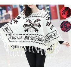 White/Black/Red Tassels Knitted Hoodie Cape SP153488