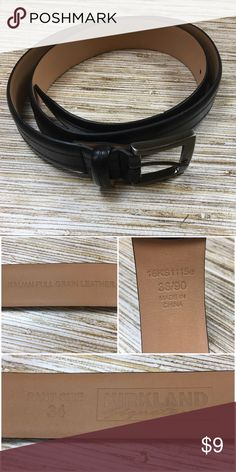 competitive price 173ba dacca Kirkland leather belt nwot - D7 Smallest belt loop approx 33 inches Largest  belt loop approx