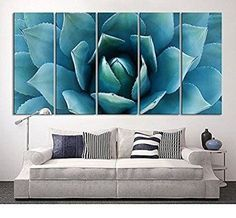 TANDA Large Wall Art Blue Agave Canvas Prints Agave Flower Large Art Canvas Printing Extra Large Canvas Wall Art Print 60 Inch Total  Improve the look on the inside of your home by using floral wall art.  By adding pretty flower paintings and flower wall art you can create a nice and relaxing house.  I like using both framed floral wall art and plain canvas floral art prints together. Flower paintings and wall art look fabulous in living rooms, bedrooms and hallways.  Additionally don't forg