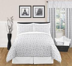 Gray and White Diamond Childrens, Kids, Teen Bedding 3pc Full / Queen Set by Sweet Jojo Designs Sweet Jojo Designs,http://www.amazon.com/dp/B007UQ6I9Y/ref=cm_sw_r_pi_dp_lztNsb18DB6WFP2W