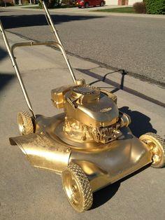A golden lawnmower...