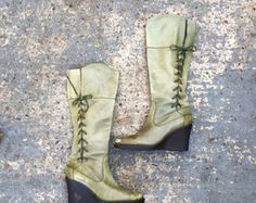 Olive green leather boots / 90s wedge leather boots / high leather green boots / pair of green soft leather boots / wedge heel UK size 6.5