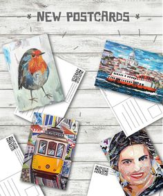 NEW POSTCARDS SOON ( 15 x 10 cm - 5,9 x 3,9 inches ) - ©philippe patricio 2015 / all rights reserved Robin Bird, Lisbon, Collage Art, Postcards, Boats, Portugal, Landscapes, Portraits, Animals