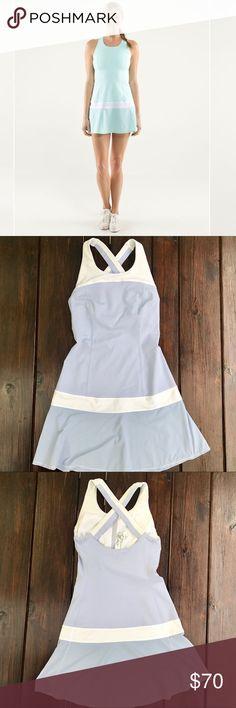 Lavender Lululemon Hot Hitter Tennis Dress Lululemon hot hitter tennis dress, size 2. White and lavender colorway. Bra lining, no cups. Crisscross back strap. EUC - no pilling, no visible flaws. lululemon athletica Dresses