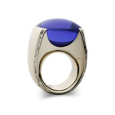 Vhernier, gold, diamonds and tanzanite cabochon ring. Adore this!
