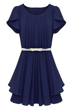 ROMWE   Zippered Belted Falbala Pleated Blue Dress, The Latest Street Fashion