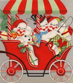 jolly vintage snowmen in a carriage