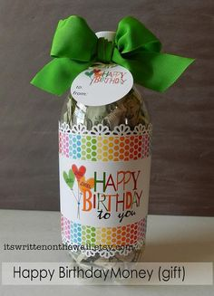 A soda bottle filled with CASH....Who doesn't like cash? Labels, Gift Cards and tutorial included.