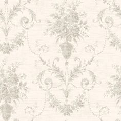 CW21501 Blush Floral Urn Damask - Calantha - Wisteria Cottage Wallpaper by Fairwinds Studios