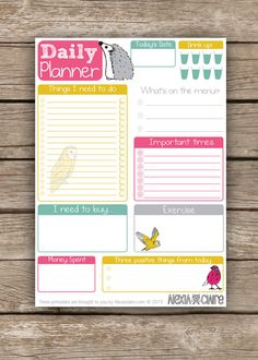 Daily Planner - Cute hand drawn animal illustrated - To do list - Instant Download pdf on Etsy, $3.36