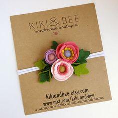 Petite Poppy Headband // Felt flower crown headband by KIKIandBEE