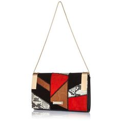 River Island Black patchwork clutch handbag ($50) ❤ liked on Polyvore featuring bags, handbags, clutches, black handbags, black purse, patchwork purse, python purse and python handbag