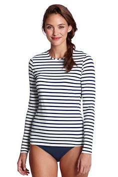 7f8749098 A swim shirt that looks feminine! I am ordering several of these asap.  Womens Stripe Crewneck Swim Tee Cover-up from Lands End