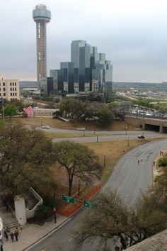Dealey Plaza, Dallas, TX.  Photographed from the 7th floor of the old School Book Depository building - the curved street below is where Kennedy was shot...