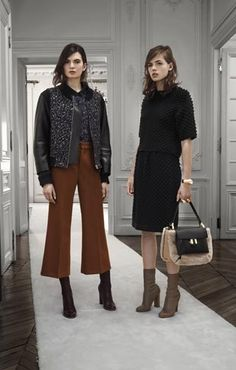 Chloe Fall 2013. Chloé's pre-fall 2013 collection was inspired by Mod girls in London with voluminous and tailored outerwear, see-through tops and pants, flared and cropped pants, and voluminous skirted dress.....