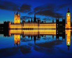 Reflection of Big Ben and House of Parliament at twilight. via http://500px.com/skyearth