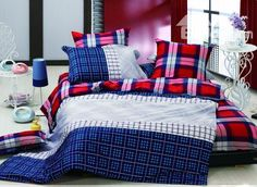 Contemporary 4 Piece Check Pattern Cotton Comforter Sets with Printing, Beddinginn.com