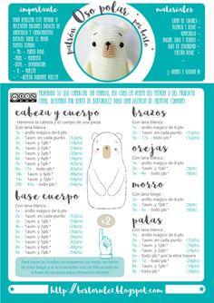 Patrones Navideños: Oso Polar Amigurumi Tutorial, Amigurumi Patterns, Amigurumi Doll, Crochet Patterns, Crochet Slippers, Crochet Toys, Free Crochet, Polar Bear Christmas, Amigurumi For Beginners