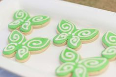 Pretty fairy wing cookies at a Tinkerbell birthday party! See more party planning ideas at CatchMyParty.com!