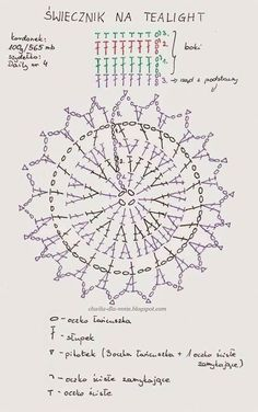 Crochet Tablecloth, Crochet Doilies, Crochet Diagram, Crochet Patterns, Crochet Ideas, Crochet Home, Knit Crochet, Crochet Angels, Tea Light Holder