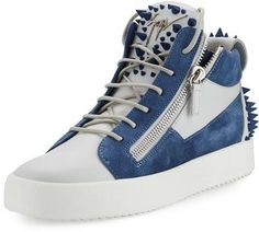 Giuseppe Zanotti Men's May London Spiked High-Top Sneaker, White/Blue Lv Shoes, Men's High Top Sneakers, Mens High Tops, Marchesa, Giuseppe Zanotti, Versace, Jumpsuit, Lace Up, London