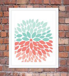 Flower Bursts Modern Home Wall Art Print  by 7-Wonders Design