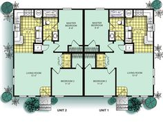 Main floor plan 2 for d 583 one story duplex house plans for Modular garage apartment floor plans