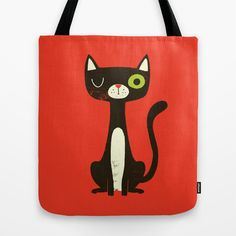 Black Cat Tote Bag by Monster Riot - $22.00