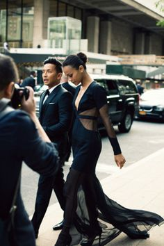Zoe Saldana in a Pradal Gurung (Fall 2012) gown, snapped with the designer on their way to the 2012 CFDA Fashion Awards in New York City.